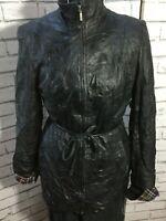 Vintage 90s Black Butter Soft Leather Belted Jacket Size M