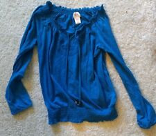 NEW Blue Peasant Top Embroidered tie front Indigo Blue M Mossimo Target
