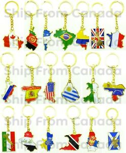 High Quality Country Flag & Map Metal Keychain Key chains - New