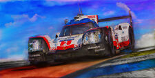 Automotive racing car art. 2017 PORSCHE 919 Hybrid Le Mans winning giclee print