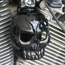 Skull Horn Cover. Gloss black. Harley Davidson. SKU-GBET-1