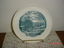 "ROYAL CHINA CO ""CURRIER & IVES"" 10 1/2"" CAKE-SERVING PLATE/BLUE-WHITE/FREE SHIP!"