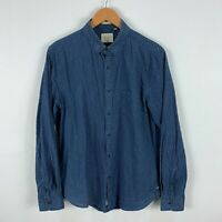Industrie Mens Button Up Shirt Medium Blue Long Sleeve Collared