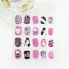 20 x New 3D Kitty Cat Short Pre-design False Nails For Kids Children Pre-Glue