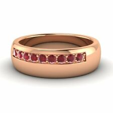 14k Rose Gold 0.42 Ctw Natural Ruby Men's Engagement / Wedding Band Ring