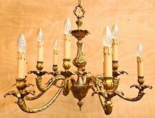 Beautiful large French twelve-light brass chandelier. ++