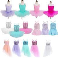 Girls Lyrical Ballet Dance Wear Dress Kids Sequins Leotard Tutu Skirt Costumes