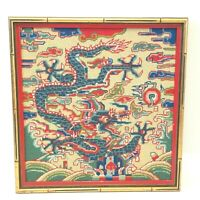 Vintage MCM Mod Chinoiserie Asian Dragon Finished Needlepoint Framed Wall Art