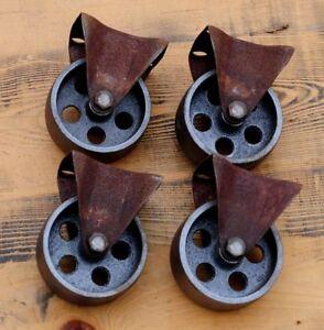 4 Gussräder 75 mm Möbel Bock-Rollen Metall Retro Vintage Industriedesign Räder