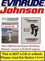 Johnson Evinrude Manual 1.25-60 HP Outboards Repair Service Manual 1971-1989