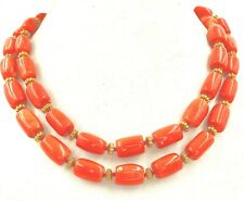 Necklace Coral Orange Red Large Beads Single Row 42 inch Gold tone Clasp