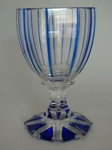 ONE VINTAGE ROEMER WINE GLASS CRYSTAL ST LOUIS BLUE BACCARAT circa 1900 s'