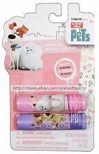 TOWNLEY .14oz 2pc THE SECRET LIFE OF PETS Lip Balm/Gloss BUBBLE GUM+GRAPE Carded