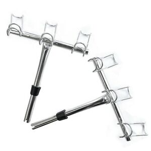 3 Way Stainless Fishing Rod Holders Port/Starboard 1 Pair FishingTackle Special
