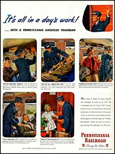 1945 Pennsylvania Railroad trainman passengers ww2 vintage art print ad adl88