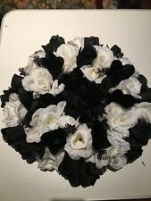 Artificial Flower Wreath 30cm Collingwood Footy Colours, Table Centre, Door,Wall