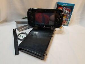 Nintendo Wii U Deluxe Black 32GB Console/System Bundle w/1 Game,Tablet,Hookups