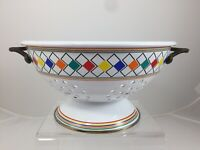 Vintage Colander Rainbow Color Harlequin Argyle Checks White Enamel Ware Brass