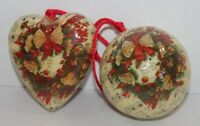 Victorian Decoupage Christmas Ornaments Heart Ball Sheet Music Wreath Vintage