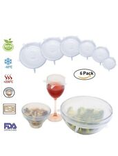 Silicone Stretch Lids - Set of 6 Silicone Food Saver Covers, Reuseable - Lid BPA