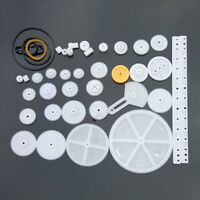 34PCS Plastic Gear Gearbox Toy Robot Motor Rack Pulley Belt DIY RC Model Making