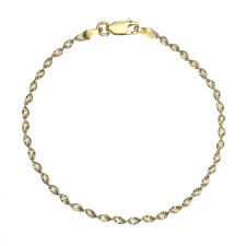 18K Gold over 925 Silver 2.5mm Diamond-Cut Italian 2-Tone Twisted Chain Anklet