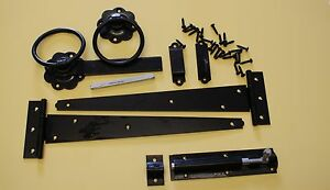 """Gate Tee Hinge Pack with bolt and latch set 18"""" Gate Kit all fixings in black."""