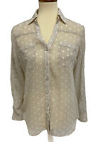 Express women's top blouse button front sleeve adjustable size M
