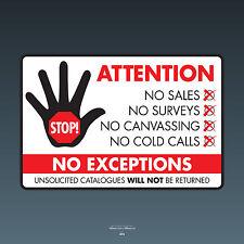 Stop Cold Calling Door Sticker No Canvassers Callers Sign - 150mm x 100mm SKU073