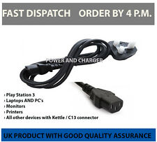 UK Mains 240V Kettle Plug C13 5A TV's Monitors PC's Adapters Printers Ps3 1.8m