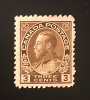 Stamps Canada SC108 3c brown KGV Admiral Mint Never Hinged, see detail