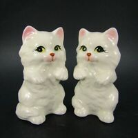 Vintage Cat Salt Pepper Shakers White Persian Kittens Yellow eyes   INV464