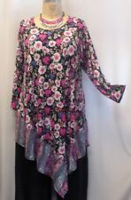 """Coco & Juan Lagenlook Plus Size Top Pink Floral Angel Knit Tunic 3X 4X B 60"""""""