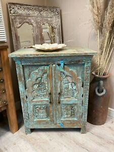 vintage indian carved small cabinet