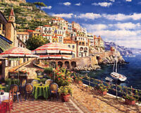 European town seaside cafe oil painting Giclee Art printed on canvas L1616