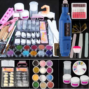 Acrylic Nail Drill Nail Art Tool DIY Nail Decor Kit Powder Glitter Sticker -Blue