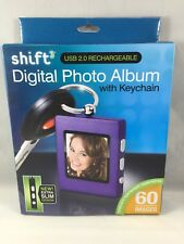 SHIFT3 Purple Digital Photo Album w/ Key Ring USB 2.0 Recharge 8MB 60 Images-NEW