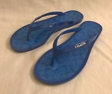 68eb1373aacf3 Coach Lyra A0652 Blue Signature Jelly Flip Flops Sandals Size 5B