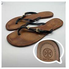 Tory Burch Women's Sz 11 Leather Black Thong Buckle Sandal $224