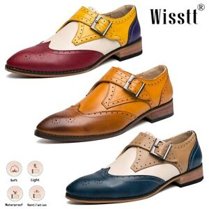 Men Leather Oxford Dress Shoes Buckle Office Brogue Boots Business Penny Loafers