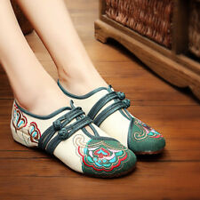 New Womens Chinese Handmade Embroidered Soft Flat Shoes Floral Mary Jane Shoes