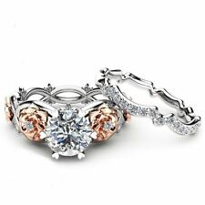 14k White Gold Over 2.5Ct Round Diamond Cut Engagement Wedding Ring Set 2-Tone