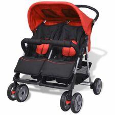 AX Passeggino Gemellare Acciaio Rosso Nero Trasporto bebè Bambini 10108 nuovo