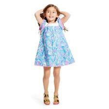 LILLY PULITZER GIRL MY FAN PINK BLUE WHITE SHELL POMPOM RICRAC DRESS 5 5T NEW