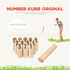 Wooden Number KUBB Original Wooden Viking Outdoor Family Party Game w/Bag