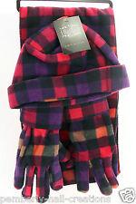 Pink, Purple & Orange Checks Womens Fleece Winter Hat Gloves & Scarf Set New