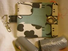 HANDMADE FABRIC DOG POO POOP BAG HOLDER DISPENSER COW A FABRIC