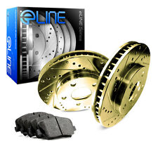 2004-2010 Toyota Sienna Front Gold Drilled Slotted Brake Rotors & Ceramic Pads