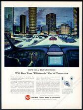 1964 streamlined future car bus city art RCA transistor vintage print ad