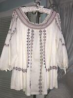 NEW ~ Plus Size 1X XL Ivory Boho Peasant Top Blouse Shirt $74